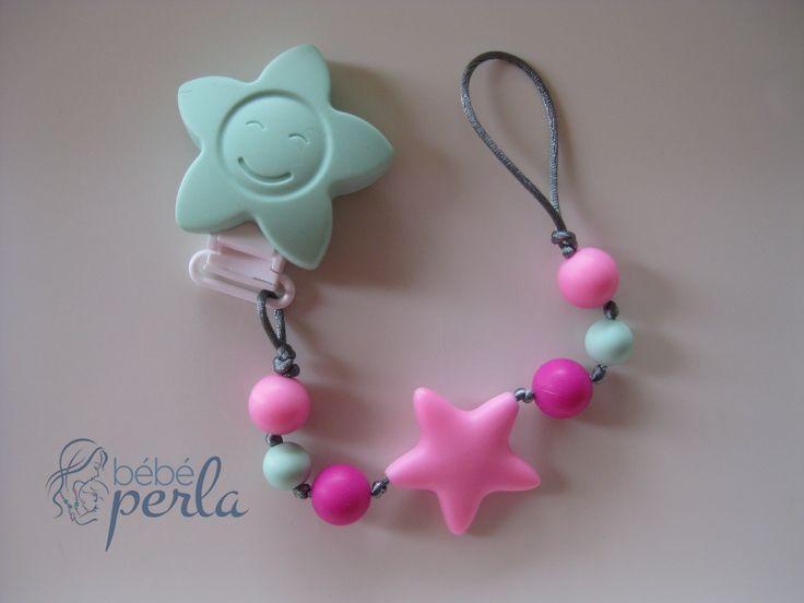 Silicone Pacifier clip - Twinkle Flower Sarah www.bebeperla.com