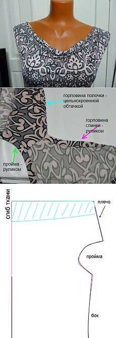 Платье с драпировкой на груди (цельнокроенная обтачка)