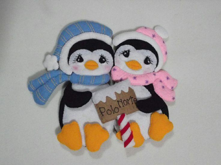 Pinguinos navideños de fieltro