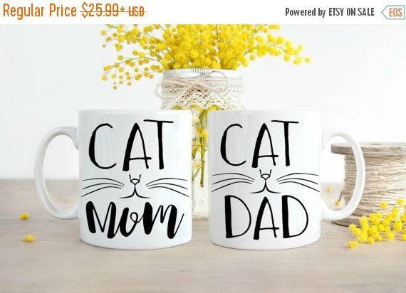 ON SALE Cat Dad Mug, Cat Mom Mug, Cat Dad, Cat Mom, Mug Set, Cat Mom Dad, Funny Cat Owner, Cat Dad Gifts, Cat Mom Gifts, Funny Cat Mugs, Mug