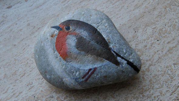 Little Robin  Uit de serie beschilderde stenen, Little Robin.