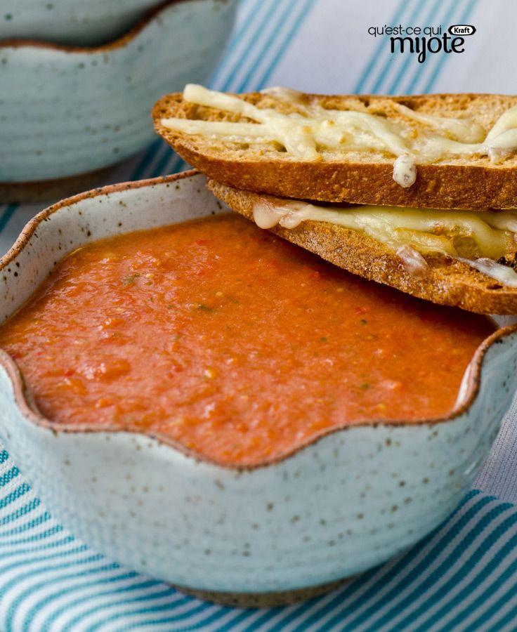 Soupe aux tomates rôties et croûtons au fromage #recette