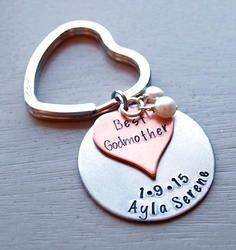 Best Godmother Personalized Hand Stamped Key chain