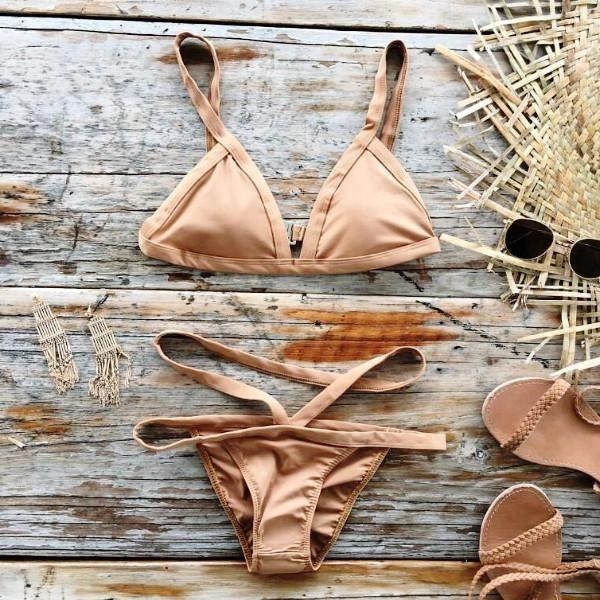 Upstyle Light Brown Bikinis Set