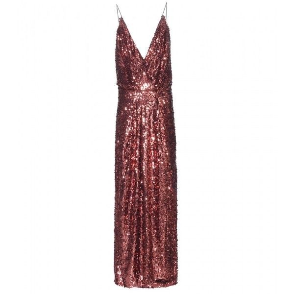 Tom Ford Sequin-Embellished Gown (£9,755) ❤ liked on Polyvore featuring dresses, gowns, iltapuvut, metallic, sequin ball gown, white sequin gown, sequin evening gowns, metallic evening dresses and white gown