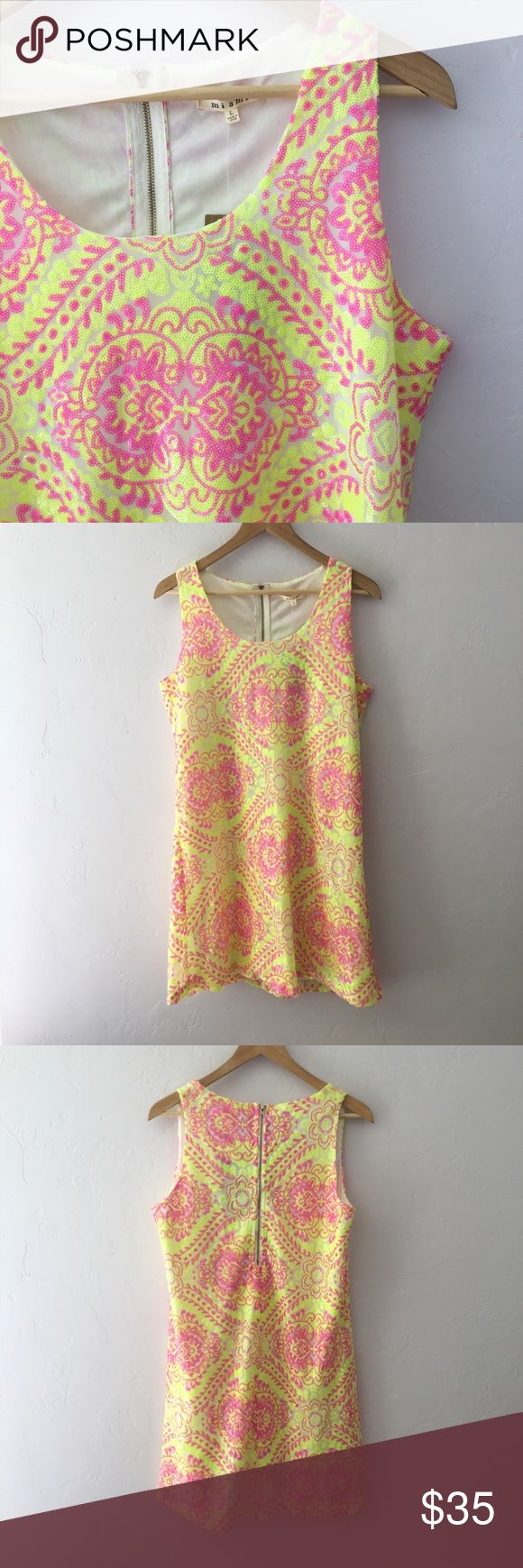 Francesca's Collections Miami Sequin Dress Lined Miami dress with pink and yellow sequins. Brand new with tags! No modeling. Francesca's Collections Dresses Mini