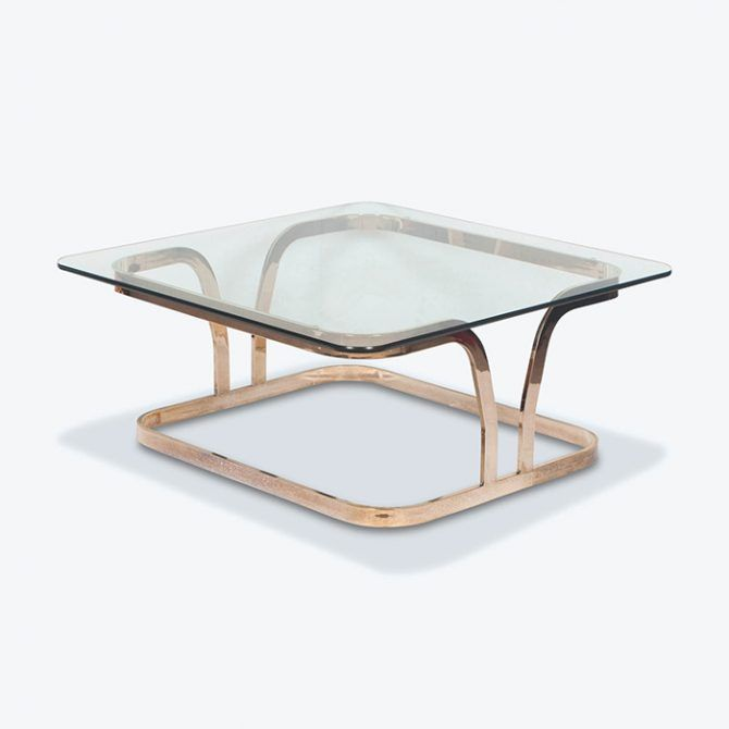 Coffee Table with Curved Brass Frame and Glass Top, 1960s, Netherlands