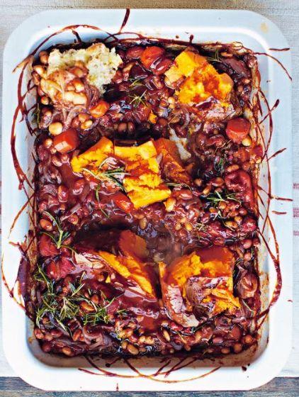 Frjoles asados con salsa barbacoa