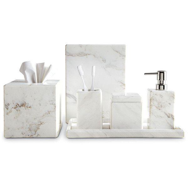 waterworks studio marble wastebasket 105 liked on polyvore featuring home bed marble bathroom accessoriesbath accessoriesmarble