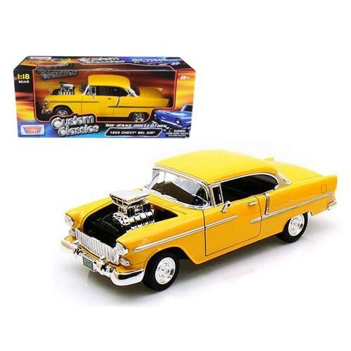 1955 Chevrolet Bel Air Yellow With Blower 1/18 Diecast Car Model by Motormax