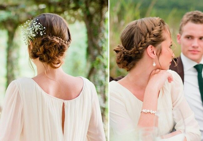 Wedding sideswept braided updo w baby's breath