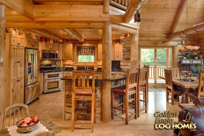 Log Home By, Golden Eagle Log Homes - Kitchen - Snack Bar