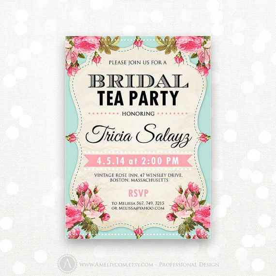 Kitchen Tea Invitation Templates Free Download: Printable Bridal Shower Invitation, Bridal Tea Party