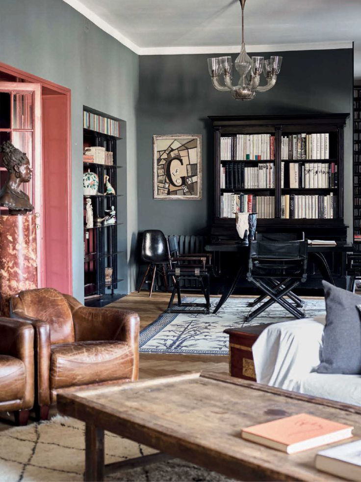 Masculine Living Room And Library