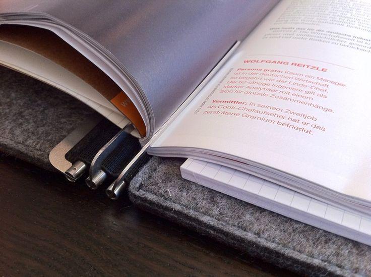 A4, Leder dunkelbraun, Filz grau, Klammermechanismus, Magazin