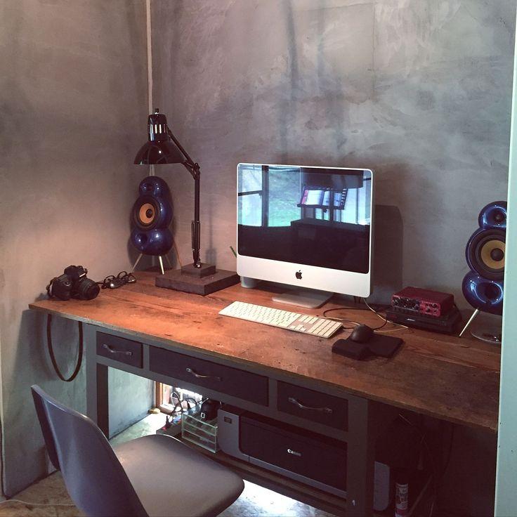 My Desk/古材…などのインテリア実例 - 2016-06-05 10:00:23 | RoomClip ... 男性で、2LDKのMy Desk/古材/DIY/Mac/パソコン