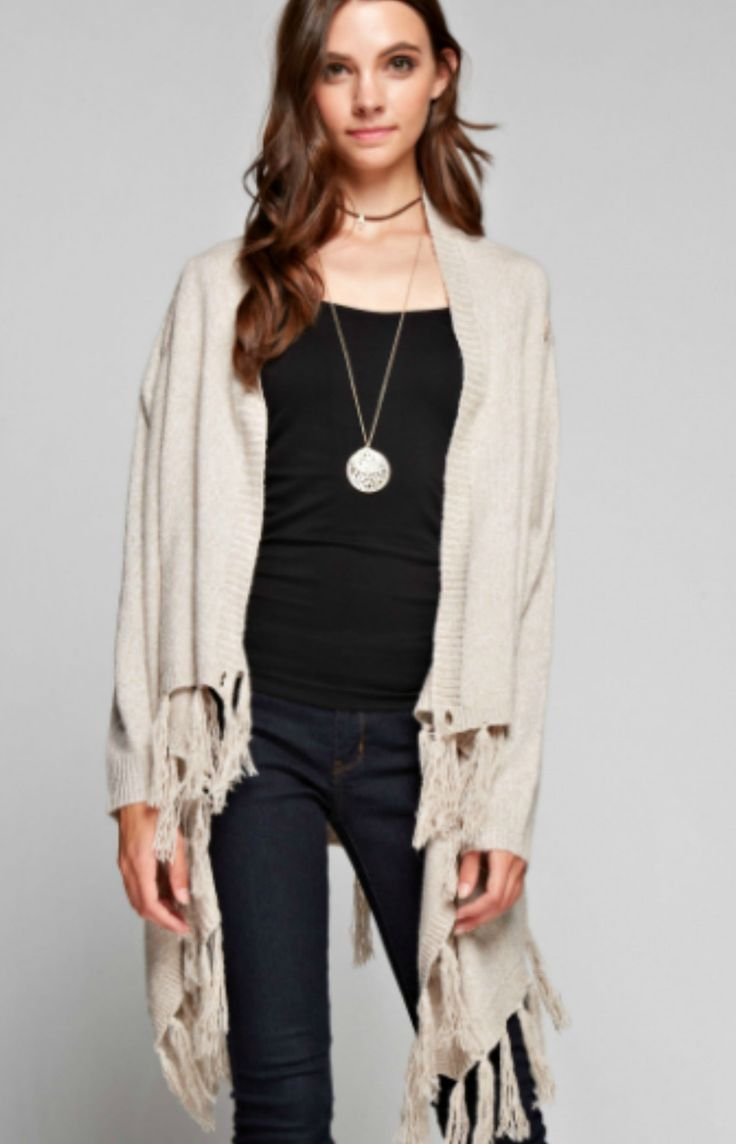 Item # 0027STS - Solid Drape Cardigan - Open Front, Fringe Hem - Long Sleeves - Shoulder Button Adjustable Wrap - Marbled Cream and Brown Thread - Medium Thickness - Item May Run Bigger in Size