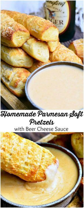 Homemade Parmesan Soft Pretzel Sticks with Beer Cheese Sauce   from willcookforsmiles.com #partyfood #appetizer #bread