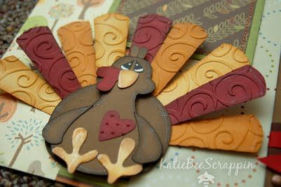 Love the embossed feathers!Embossing Feathers, Paper Piecing, Cute Ideas, Paper Piece, Turkey Card, Paper Turkey, Punch Art, Thanksgiving Cards, Cricut Fall Cards