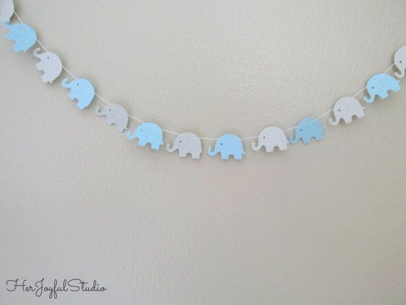 Elephant Garland in Baby Blue and Light Grey - Elephant Baby Shower Decoration -