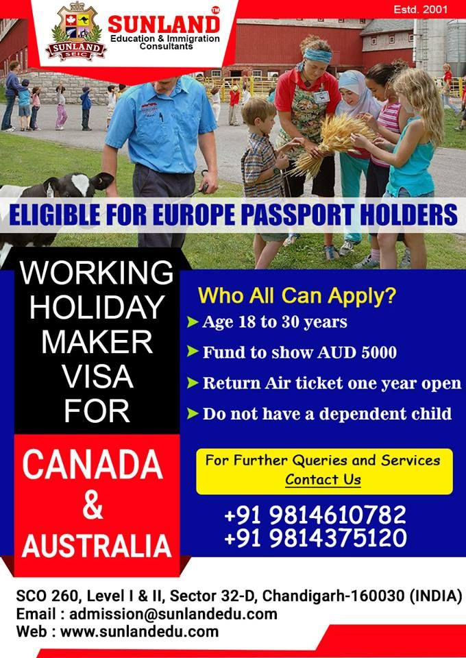 sample invitation letter for visitor visto australia%0A  Working  Holiday  Maker  Visa For  Canada  u      Australia For further Queries  and Services contact us at   Sunland  Education and  Immigration   Consultants