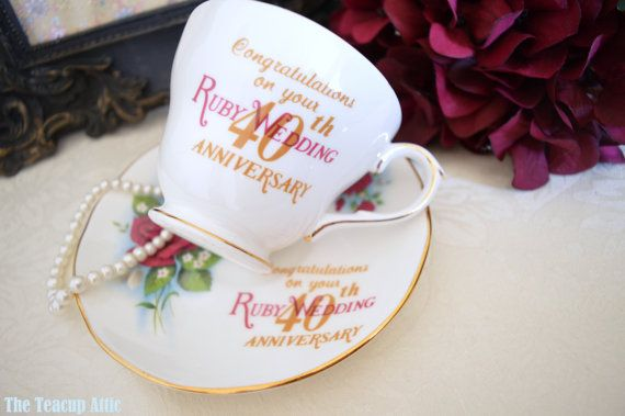 Duchess China 40th Ruby Anniversary Teacup and by TheTeacupAttic