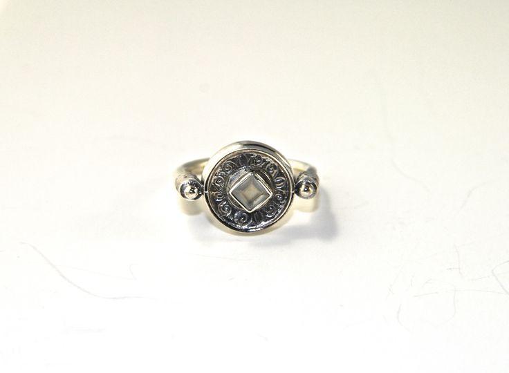 Inspired by Indian moghul jewellery. #moghuljewellery #indiandesign #vintagedesign #silverjewellery #silverring #gemstone #quartzcrystal  Shop at http://www.etsy.com/au/shop/ChrisRoseBijoux