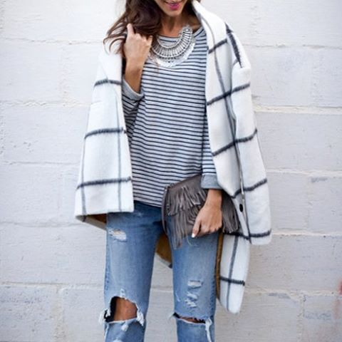 Plaid and stripes make a great pair. // Follow @ShopStyle on Instagram to shop this look