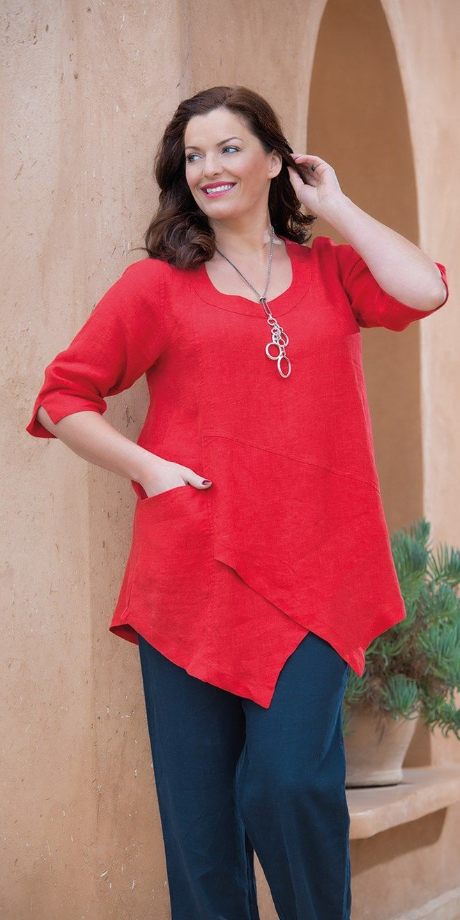 Kasbah red linen pocket top at Box 2