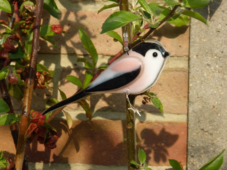 Fused glass long tailed tit, long tailed tit, bird lover gift, garden bird british bird nature lover gift, garden ornament, british wildlife by 1stGlassCreations on Etsy https://www.etsy.com/uk/listing/280345730/fused-glass-long-tailed-tit-long-tailed