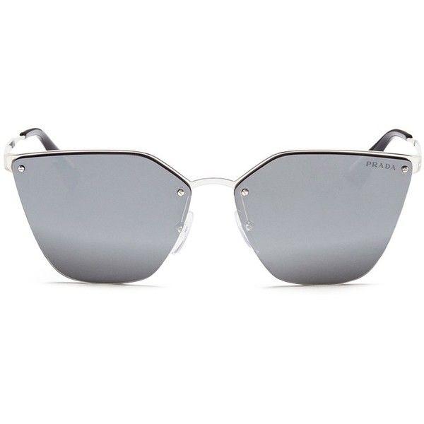 da9e3b4b0ae Prada Mounted lens angular cat eye sunglasses (€255) ❤ liked on Polyvore  featuring accessories