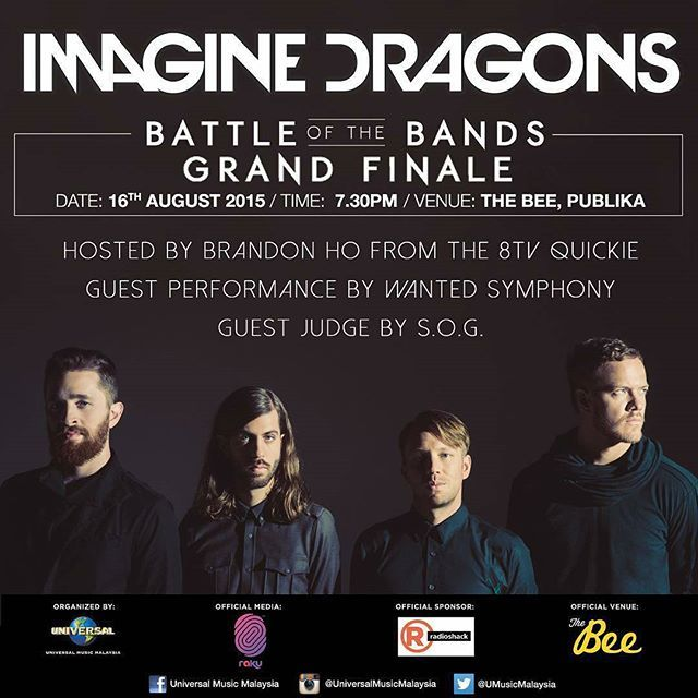 Hey peeps mark your calendars for this Sunday16th August and watch 6 bands battle it out at The Bee Publika @ 7.30pm!  Come join us and win Imagine Dragons exclusive merchandises Beats Headphones RadioShack and Raku goodies as well as catch our host @itsbrandonho from The 8TV Quickie guest judge @wearesog and guest performance by @wantedsymphony  So SEE YOU THERE!! More info on @universalmusicmalaysia bio jom tengok !!