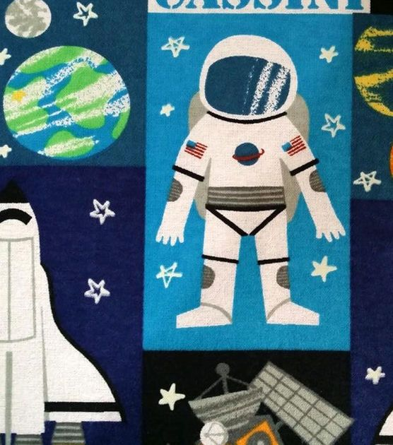 Snuggle flannel fabric space block glow glow flannels for Space fleece fabric