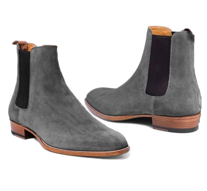 New Handmade Men Gray Chelsea Boots For Men Suede Leather Ankle Boot #Handmade #Chelsea