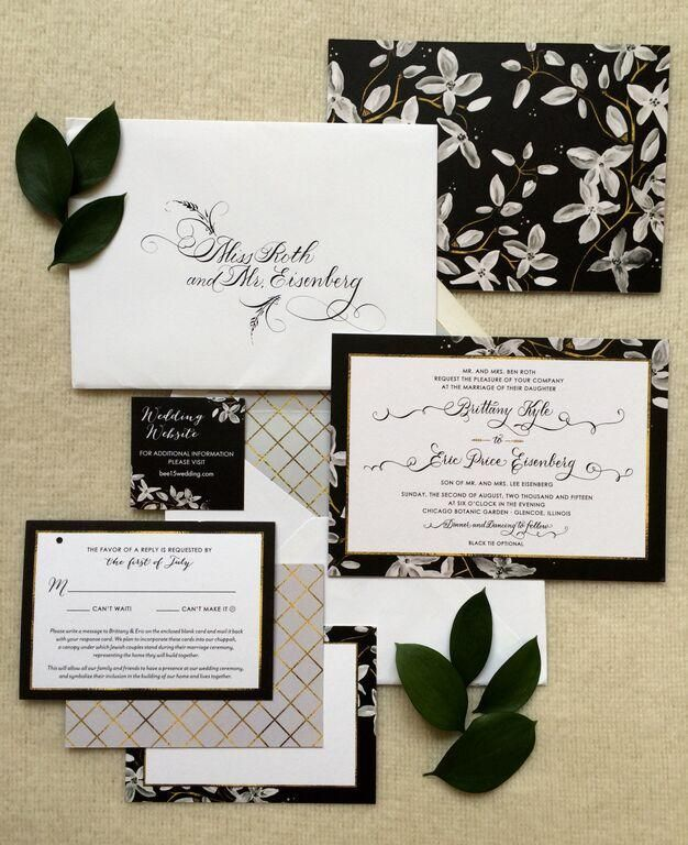 elegant wedding invites coupon codes%0A This romantic black and white wedding invitation suite with traditional  calligraphy is the perfect way to