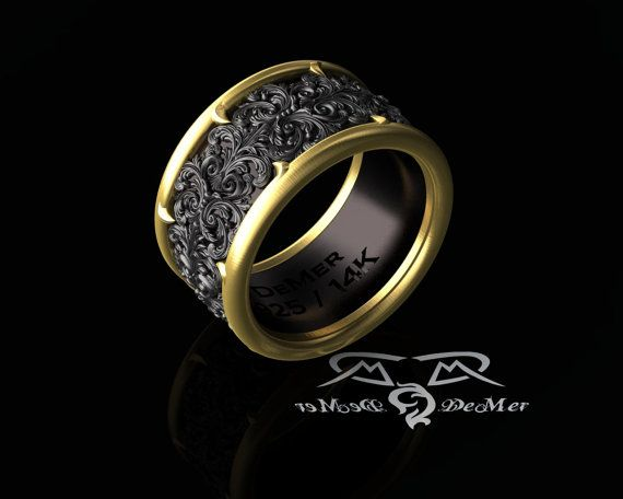 ornate 14kt and black wide mens band ring. от DeMerJewelry на Etsy