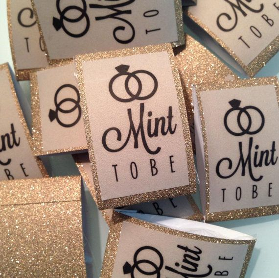 """Mint wedding Favors - Set of 24 mint rolls - """"Mint to be"""" favors with personalized tag - burlap, pale pink, blush, mint, rustic, shabby chic, gold sparkle by BrightMintShop on Etsy"""