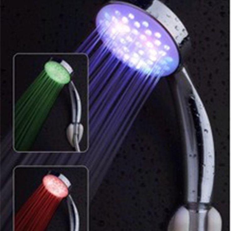 Fashion LED Temperature Control Hand Tri-color Shower Head Bath Shampooing Spray