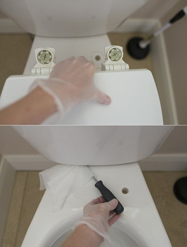 To get the nooks and crannies of your toilet super clean, take the lid off and use a screwdriver and Clorox Wipe. | 42 Seriously Useful Tips Every Clean Freak Needs To Know