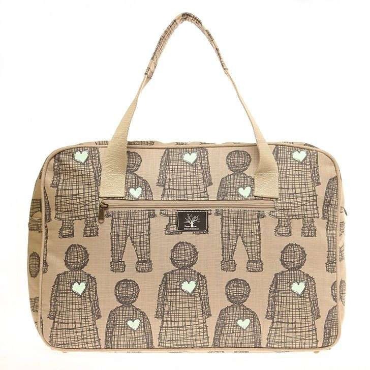 PEPPER TREE | Unisex Weekend Bag in Stone Lovedoll and Stone Heart - Baby Travel - kinderelo.co.za