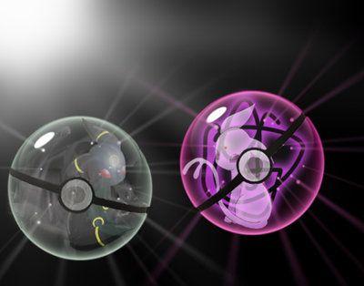 Umbreon and Espeon in their pokeballs by Mofoh.deviantart.com on @DeviantArt