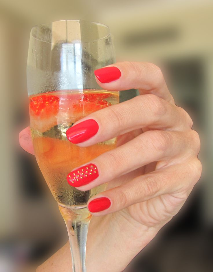 Red Studded Nails : iZ beauty of London Stud iT Gold Balls