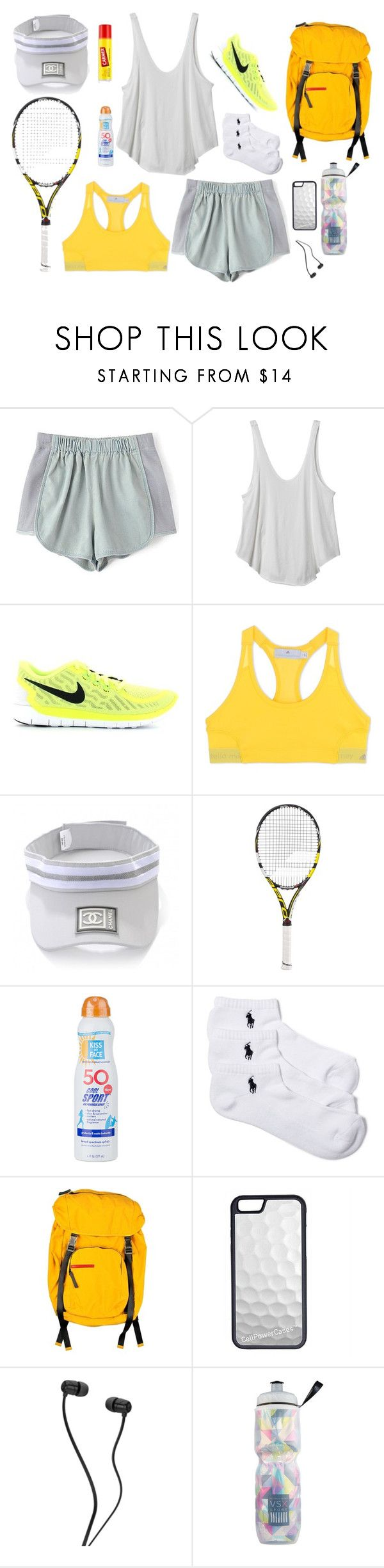Sunday Sporty by dinyvia on Polyvore featuring RVCA, adidas, Polo Ralph Lauren, NIKE, Chanel, CellPowerCases, Babolat, Kiss My Face, Victoria's Secret and Prada