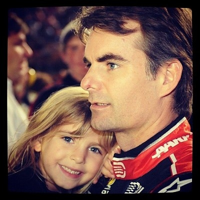"""Ella with Papa Before the Race - """"Like"""" on Facebook: www.facebook.com/jeffgordon & www.facebook.com/ingridvandebosch"""
