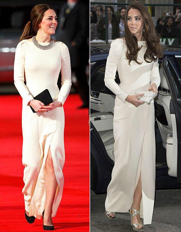 Kate Middleton com o mesmo vestido branco. #casamento #vestidodenoiva #vestidobranco #famosas