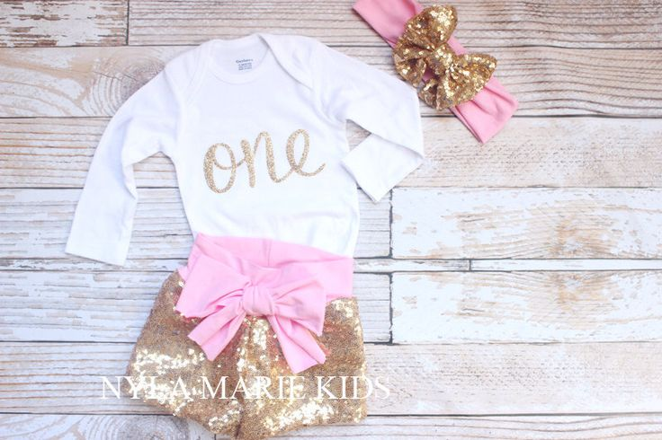 Pink and gold Sequin shorts, baby sequin shorts, first birthday, glitter, gold shorts, by NylaMarieKids on Etsy https://www.etsy.com/listing/246620781/pink-and-gold-sequin-shorts-baby-sequin