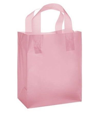 """Pink Frosted Plastic Gift Bags with Handle (8""""x5""""x10"""") 24"""