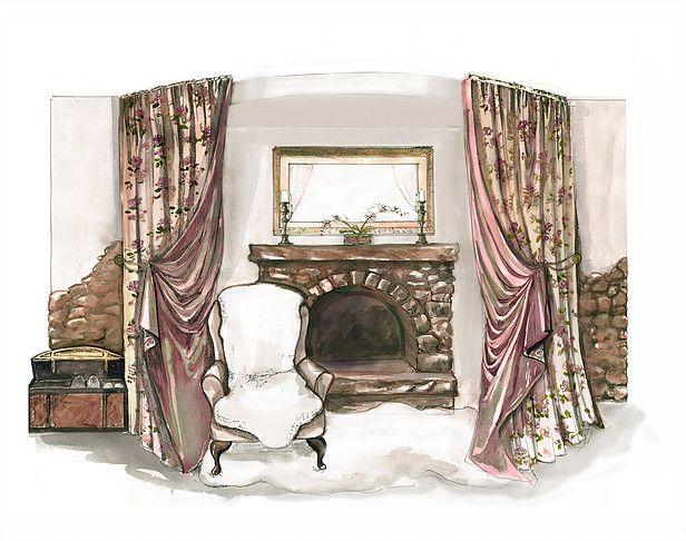 Эскизы штор. Интерьерные эскизы, эскиз интерьера. Architectural Rendering Interior Rendering Design.
