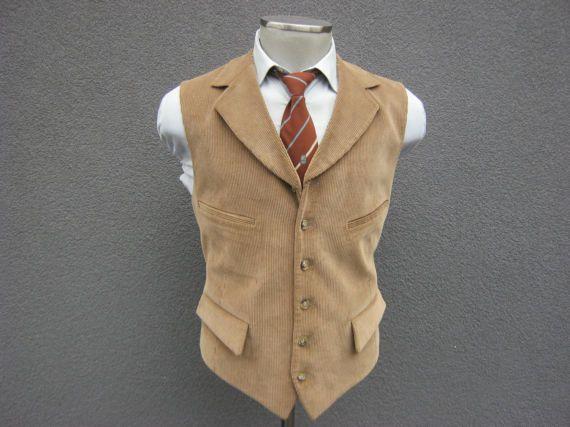 1970s Tan Corduroy Vest / Vintage Mens Waistcoat / Size 44