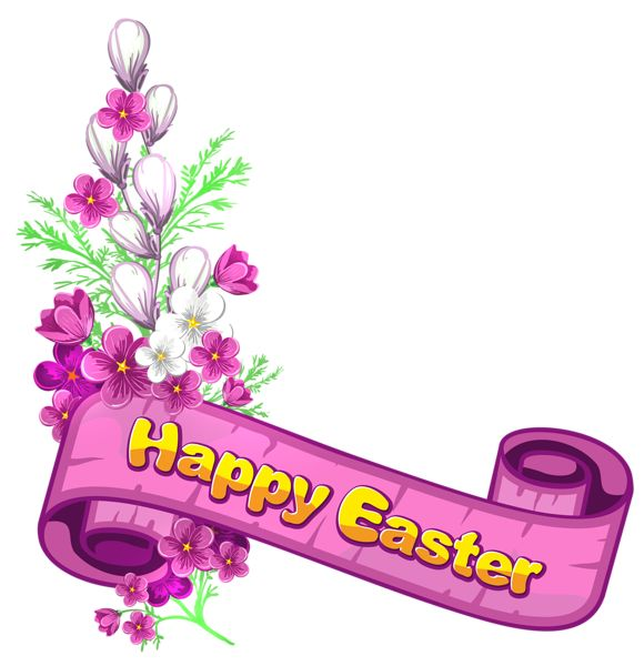 Pink Happy Easter Banner and Flowers